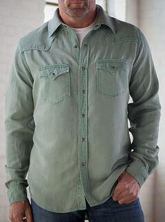 Ryan Michael Men's Sage Silk Linen Pick Stitch Shirt, , hi-res