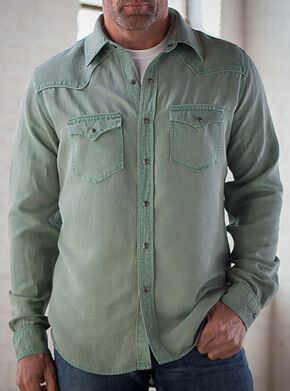 Ryan Michael Men's Sage Silk Linen Pick Stitch Shirt, Sage, hi-res