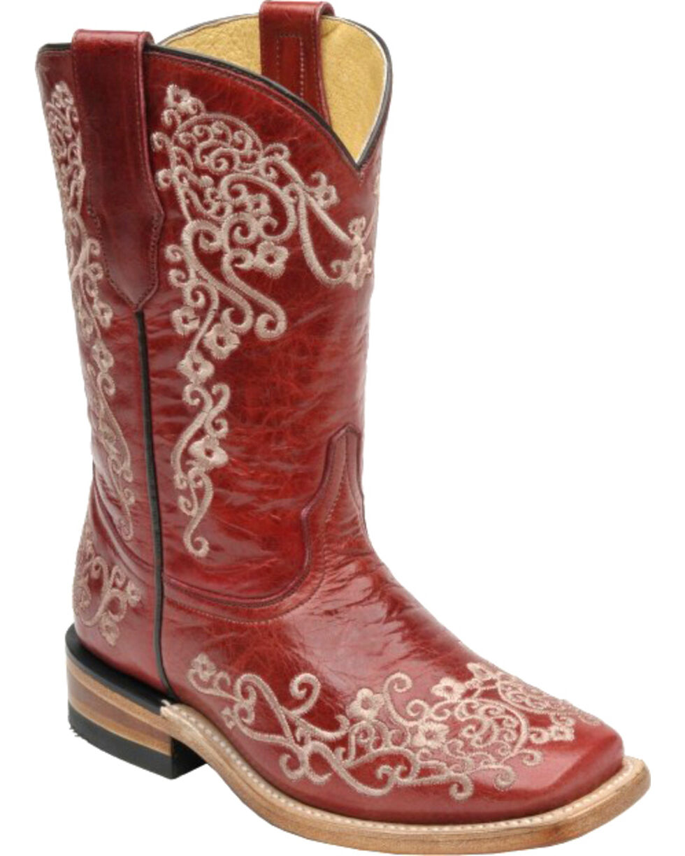 Corral Girls' Red Scroll Embroidery Boots - Square Toe , Red, hi-res