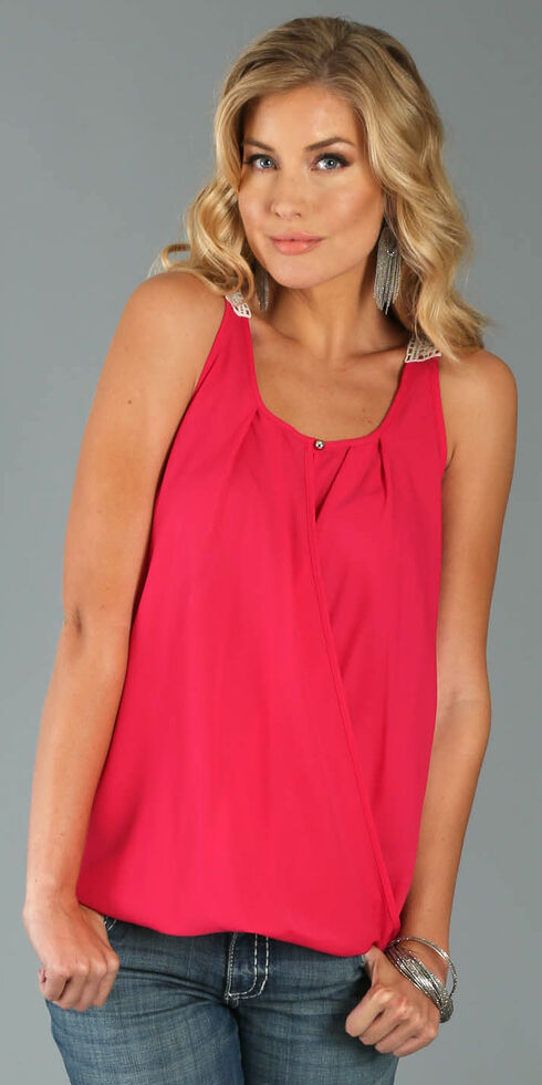 Wrangler Women's Sleeveless Surplice Top with Crocheted Back, Pink, hi-res
