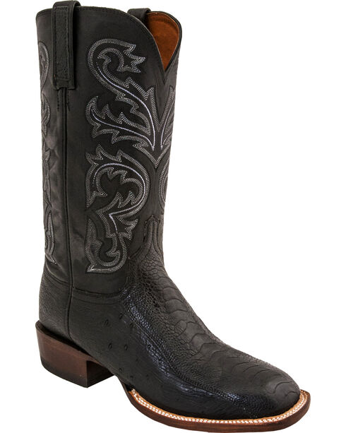 Lucchese Men's Ostrich Horseman Exotic Boots - Square Toe, Black, hi-res