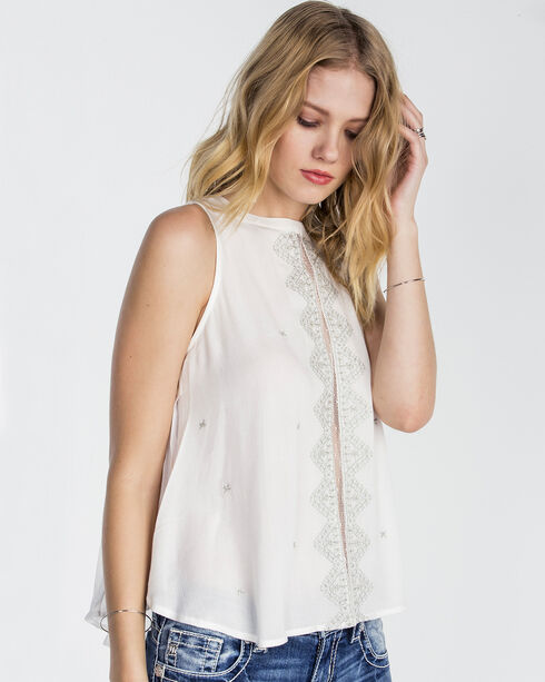 Miss Me Women's White Sleeveless Embroidered Top , White, hi-res