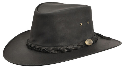 Jacaru Kangaroo Leather Outback Hat, Black, hi-res