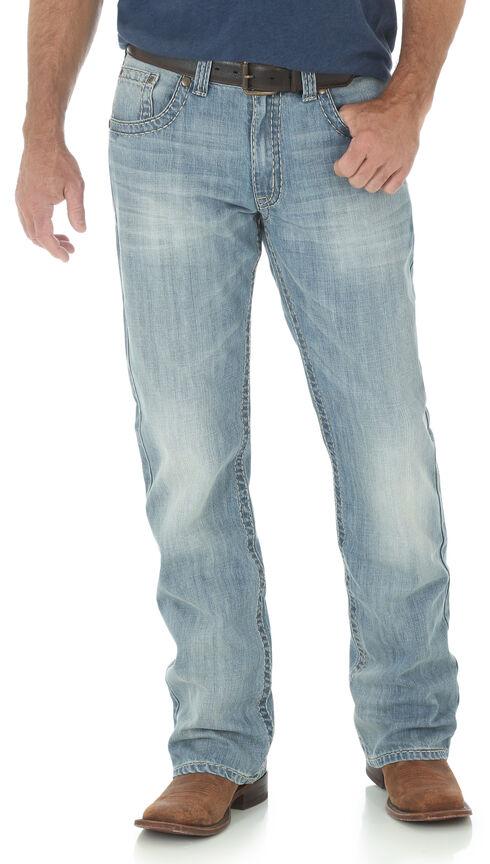 Wrangler Rock 47 Men's Slim Boot Cut Light Wash Jeans, Indigo, hi-res