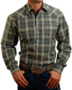 Stetson Men's Ombre Cream Plaid Long Sleeve Snap Shirt, Cream, hi-res