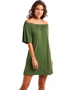 Panhandle Women's Olive Off The Shoulder Swing Dress, Olive, hi-res