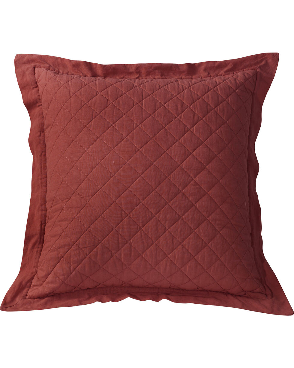 HiEnd Accents Diamond Pattern Quilted Red Euro Sham, Red, hi-res
