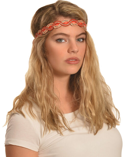 Shyanne Women's Pink Beaded Headband , Pink, hi-res