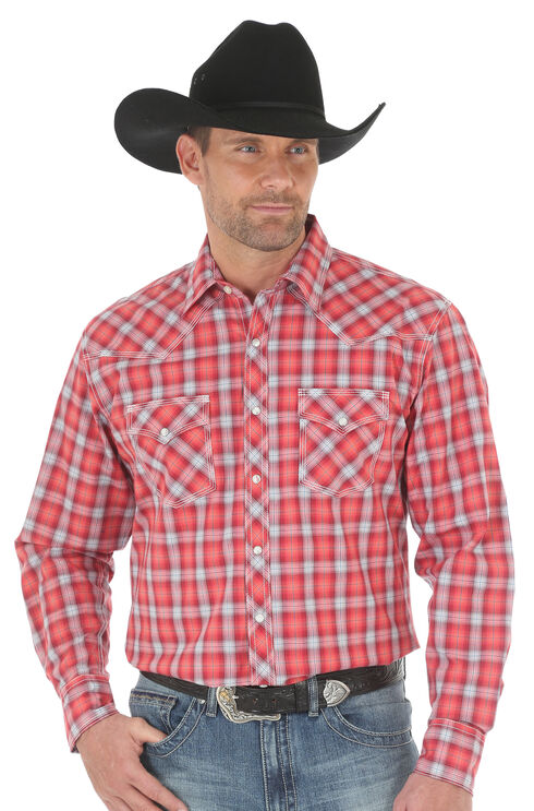 Wrangler Men's 20X Advanced Comfort Plaid Shirt - Big and Tall , Red, hi-res