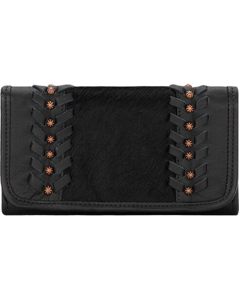 American West Women's Cow Town Black Tri-Fold Wallet , Black, hi-res