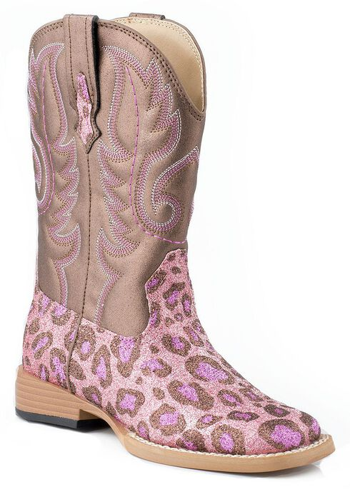 Roper Toddler Girls' Glittery Pink Leopard Print Cowgirl Boots, Pink, hi-res