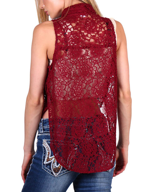 Teint Women's Sheer Lace Sleeveless Top, Burgundy, hi-res