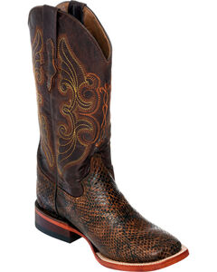 Ferrini Women's Chocolate Snake Print Cowgirl Boots - Square Toe, , hi-res