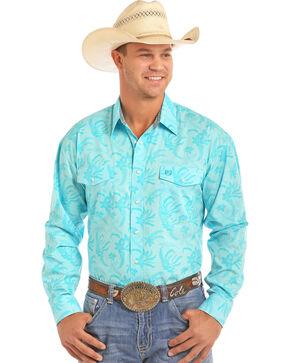 Panhandle Men's Floral Print Long Sleeve Snap Shirt, Blue, hi-res