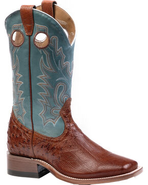 Boulet Smooth Brandy Ostrich Cowgirl Boots - Square Toe, Brandy, hi-res