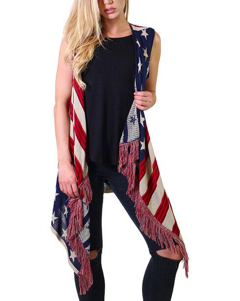 American Attitude Women's Flag Fringe Vest, Red/white/blue, hi-res