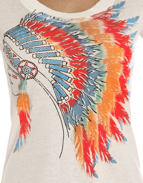 Rock & Roll Cowgirl Women's Natural Colorful Headdress Graphic Tee, Natural, hi-res