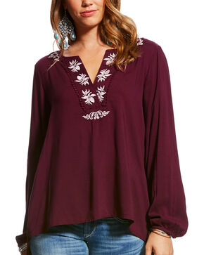 Ariat Women's Embroidered Challis Peasant Top, Mauve, hi-res