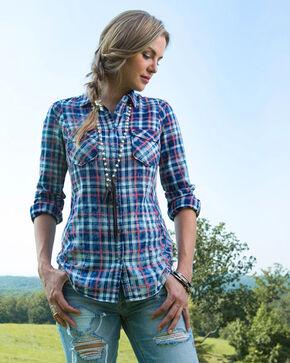 Ryan Michael Women's Indigo Pick Stitch Plaid Shirt , Indigo, hi-res