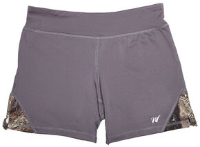 Wilderness Dreams Women's Mossy Oak Break-Up Country Gunmetal Gray Active Shorts, Gunmetal, hi-res