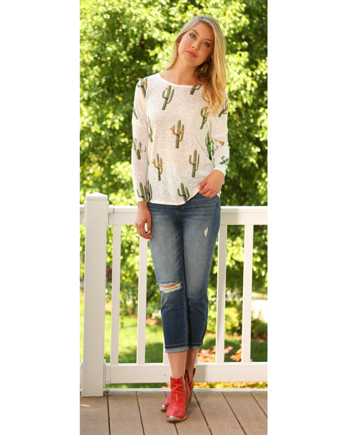 Wrangler Women's Long Sleeve Cactus Print Tunic, Cream, hi-res
