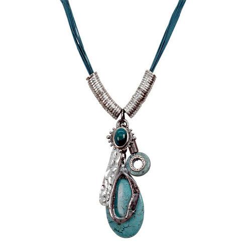 Treska Turquoise Tassel Style Pendant Necklace, Turquoise, hi-res