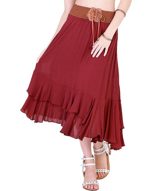 HYFVE Women's Wine Tie Front Midi Skirt, Wine, hi-res