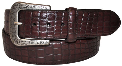 G Bar D Men's Dark Brown Croco Print Belt, Dark Brown, hi-res