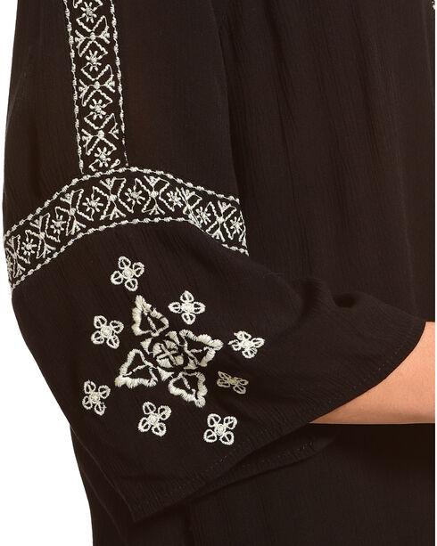 Tanzara Women's Embroidered Peasant Top, Black, hi-res