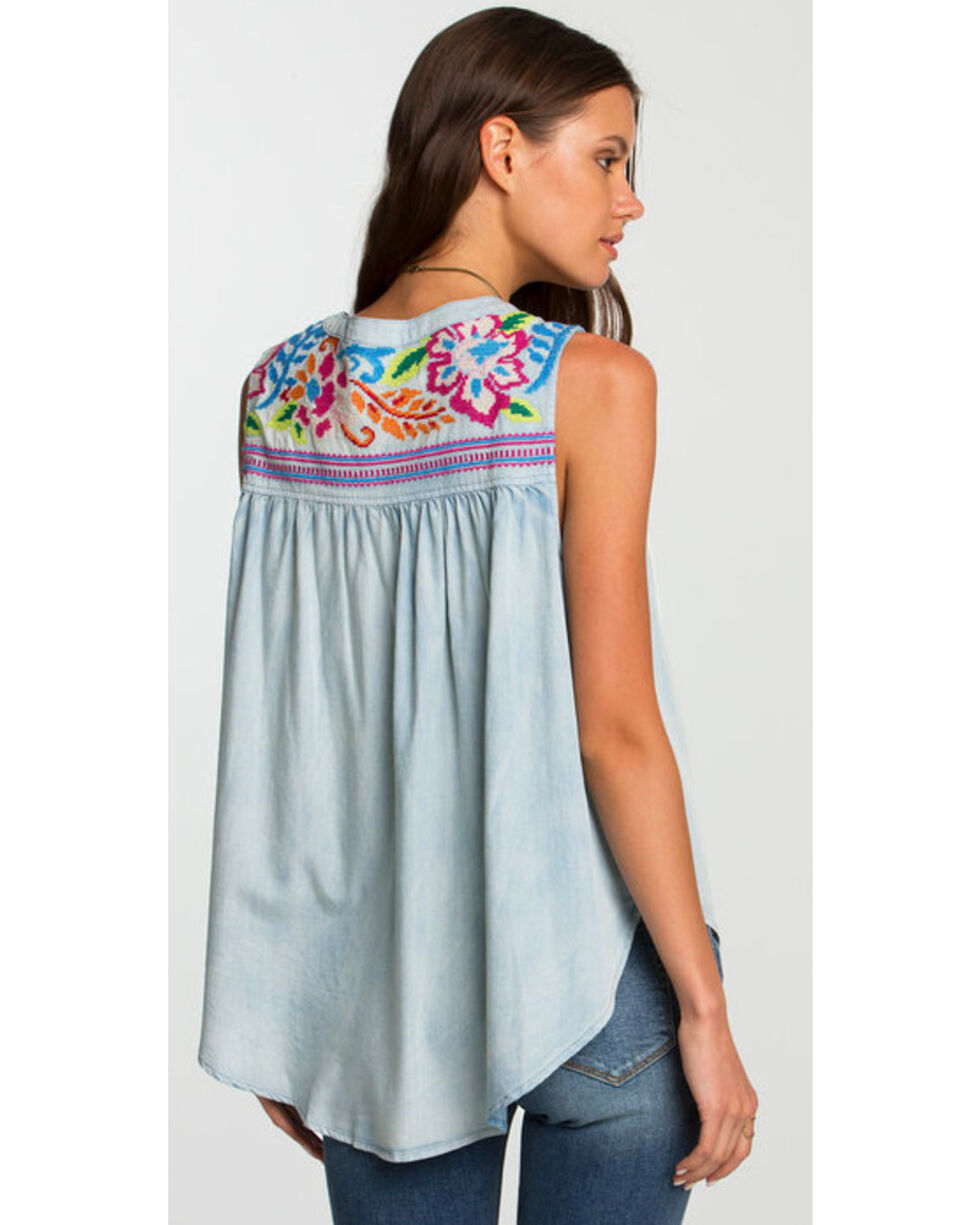 Miss Me Women's White Floral Embroidered Sleeveless Top , Light Blue, hi-res