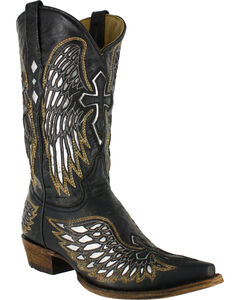 Corral Women's Black Wing and Cross Western Boots - Snip Toe, Black, hi-res