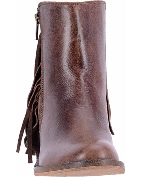 Dingo Women's Brown Izzy Booties - Round Toe , Brown, hi-res