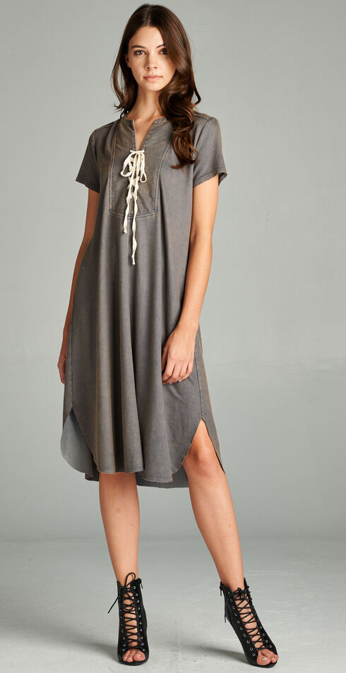 Hyku Women's Denim Blue Washed Lace-Up Front Dress, Blue, hi-res