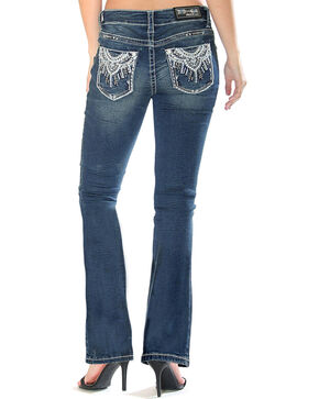 Grace in LA Women's Indigo Medallion Pocket Jeans - Boot Cut , Indigo, hi-res
