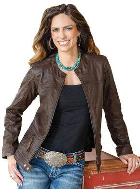 STS Ranchwear Women's Douglas Brown Leather Jacket - Plus - 2XL, Brown, hi-res