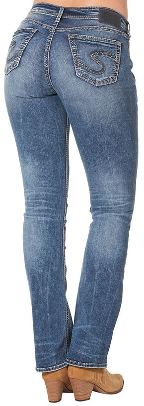 Silver Women's Suki High Slim Bootcut Dark Wash Jeans , Blue, hi-res