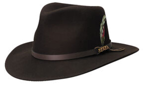 4c88ca2fc76 Scala Mens Chocolate Brown Crushable Wool Felt Outback Hat, Chocolate,  hi-res