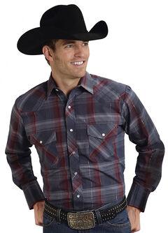 Roper Men's Gray Lurex Plaid Western Shirt, , hi-res