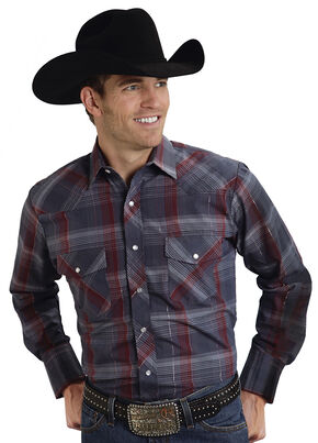 Roper Men's Gray Lurex Plaid Western Shirt, Grey, hi-res