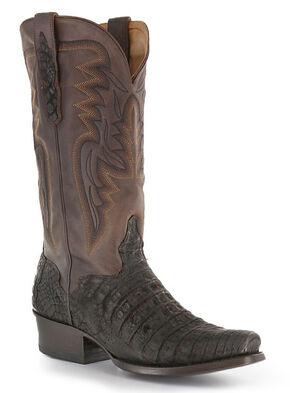 El Dorado Chocolate Caiman Belly Cowboy Boots - Square Toe, Chocolate, hi-res
