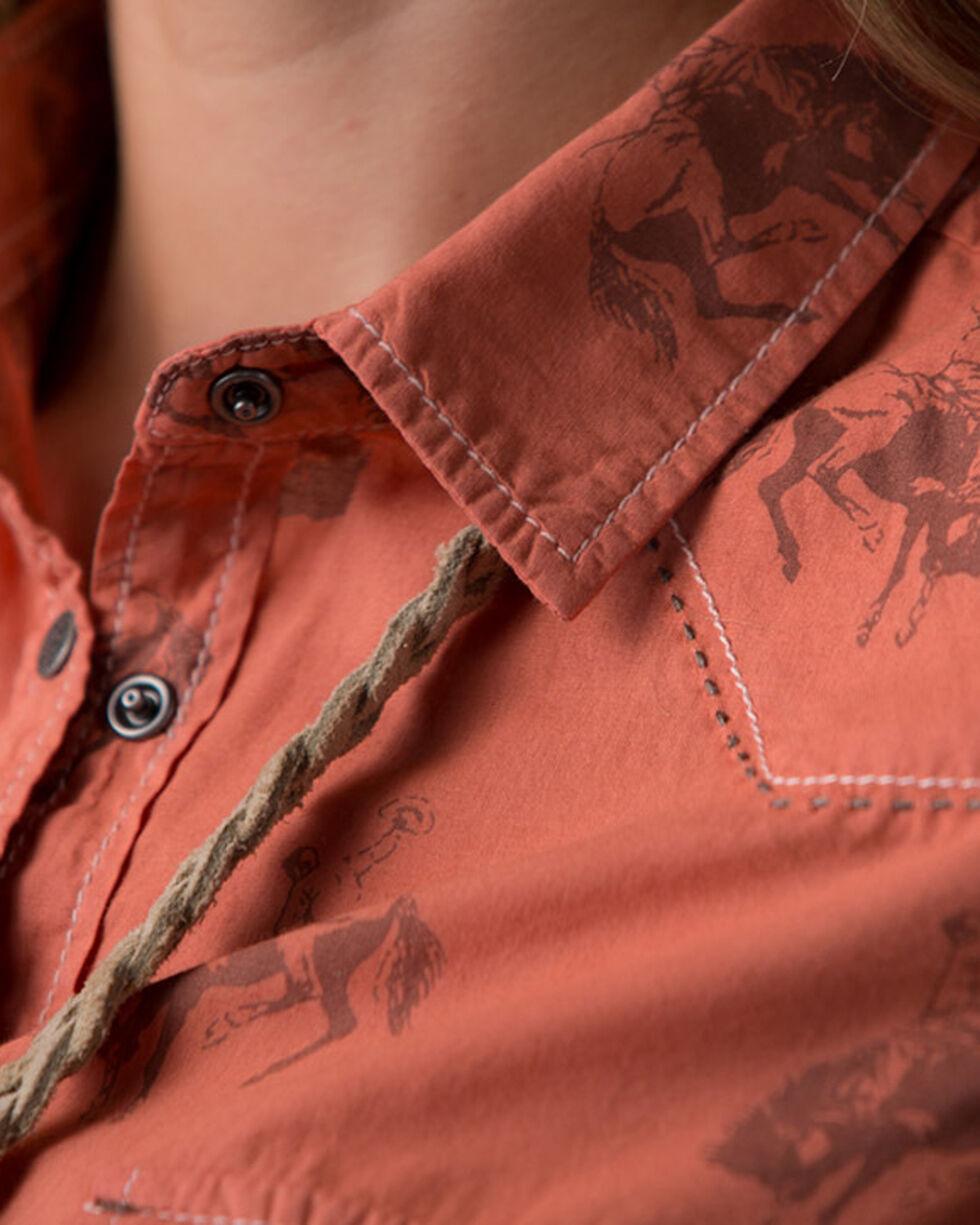 Ryan Michael Women's Orange Bucking Horse Print Shirt , Grey, hi-res