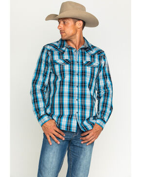 Cody James Men's Border Plaid Long Sleeve Shirt, Black, hi-res