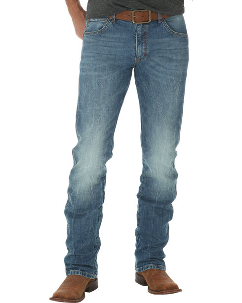 Wrangler Retro Men's Slim Fit Straight Leg Light Wash Jeans - Big and Tall, Indigo, hi-res
