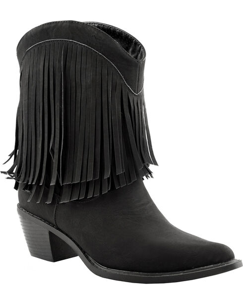 Roper Faux Leather Fringe Cowgirl Boots - Pointed Toe, Black, hi-res