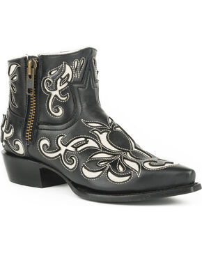 Stetson Women's Ivy Laser Cut Western Boots - Snip Toe, Black, hi-res