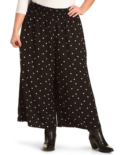 Eyeshadow Women's Dotted Gaucho Pants – Plus, Black, hi-res