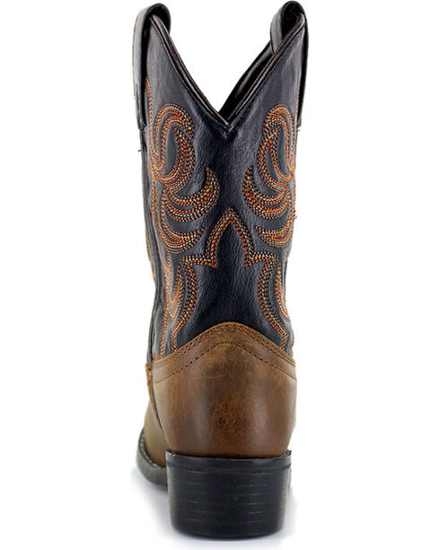 Cody James Boys' Embroidered Two Toned Western Boots - Round Toe, Brown, hi-res