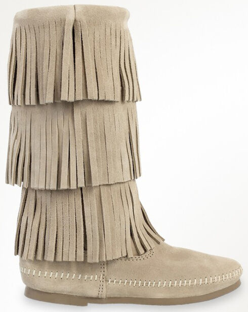 Minnetonka Women's Calf Hi 3-Layer Fringe Boots, Stone, hi-res