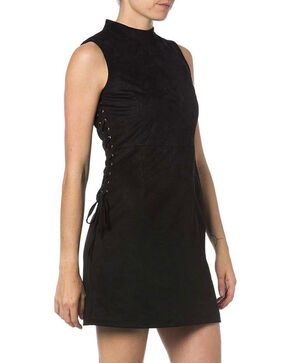 Miss Me Sleeveless Faux Suede Dress, Black, hi-res