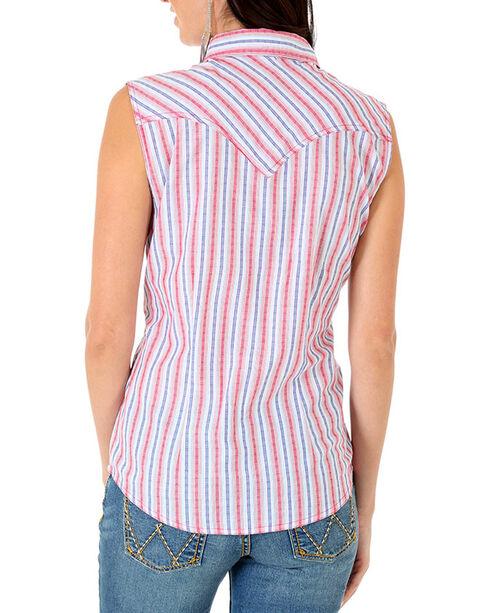 Wrangler Rock 47 Women's Red Stripe Snap Down Shirt , Red, hi-res